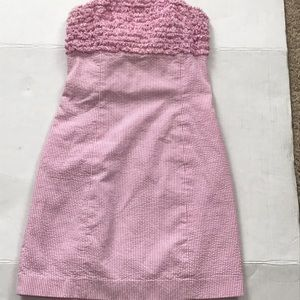 Lilly Pulitzer seersucker pink strapless dress sz2